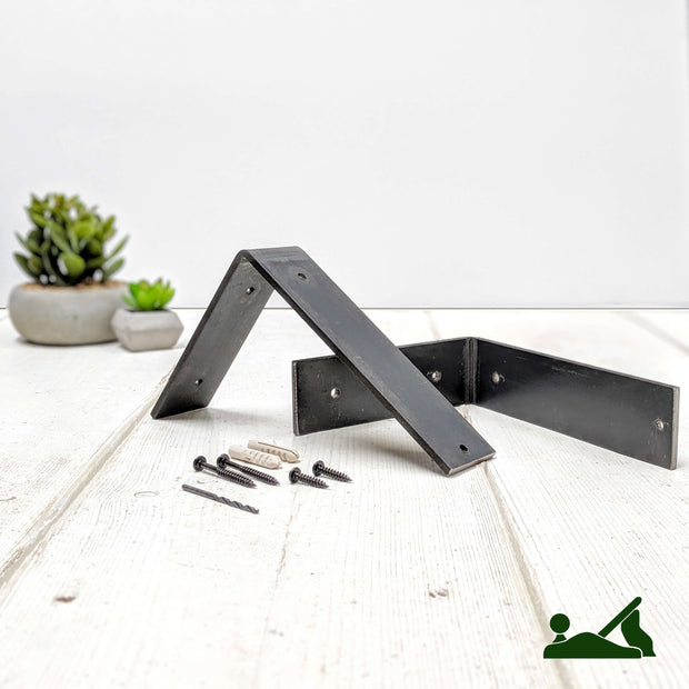 Rustic Thin Metal Bracket Shelf | 22cm Depth