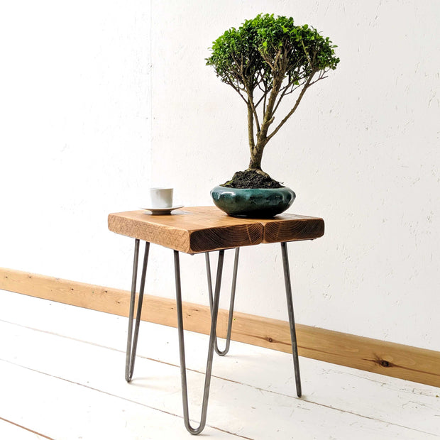 Rustic Side Table | Hairpin Legs | 35cm Height