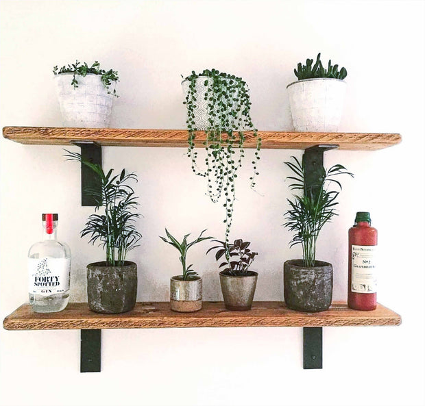Rustic Non-Lipped Bracket Thin Shelf | 22cm Depth