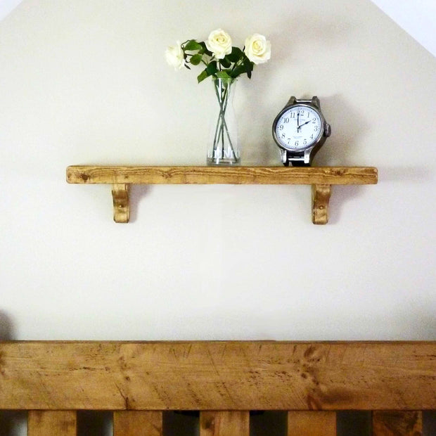 Rustic Wooden Bracket Shelf | 15cm Depth