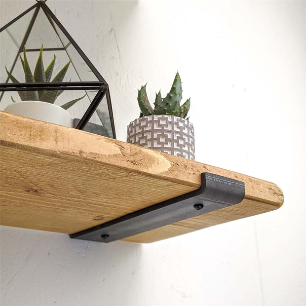 Rustic Thin Inverted Metal Bracket Shelf | 22cm Depth