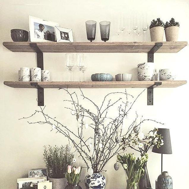 Shabby Chic Lipped Metal Bracket Thin Shelves | 22cm Depth