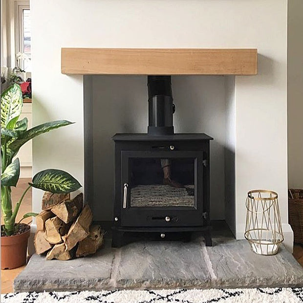 Contemporary oak mantel