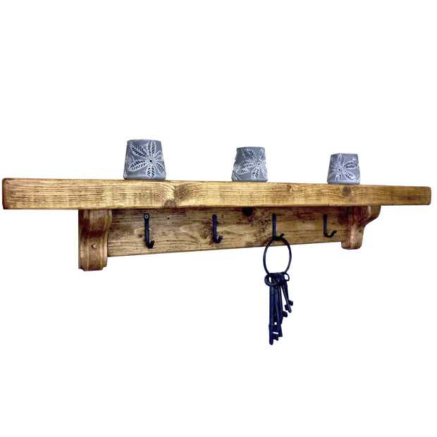 Rustic Coat Rack Shelf | 15cm Depth