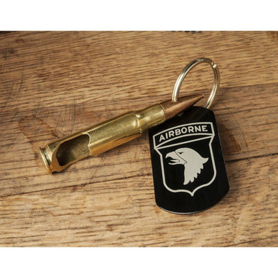 US Army 7.62mm Bottle Opener Keychain with Division Dog Tag