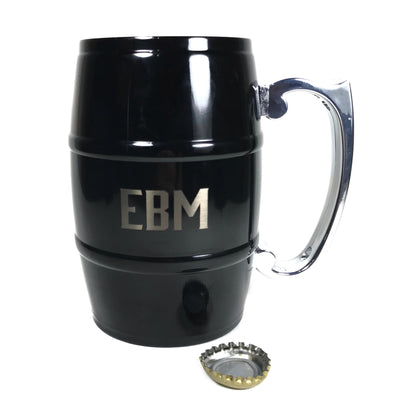 Custom black stainless steel barrel beer mug