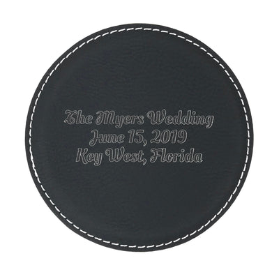 Custom black leatherette coaster