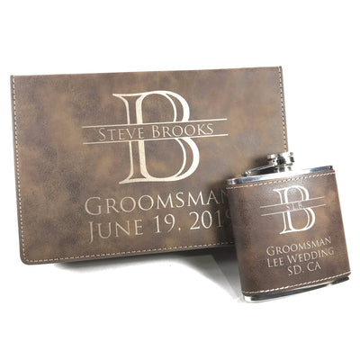 Rustic Brown Flask with 2 Shot Glasses in Monogrammed Gift Box