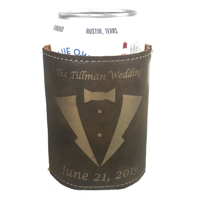 Brown Leatherette Can Koozies with Artwork and Text