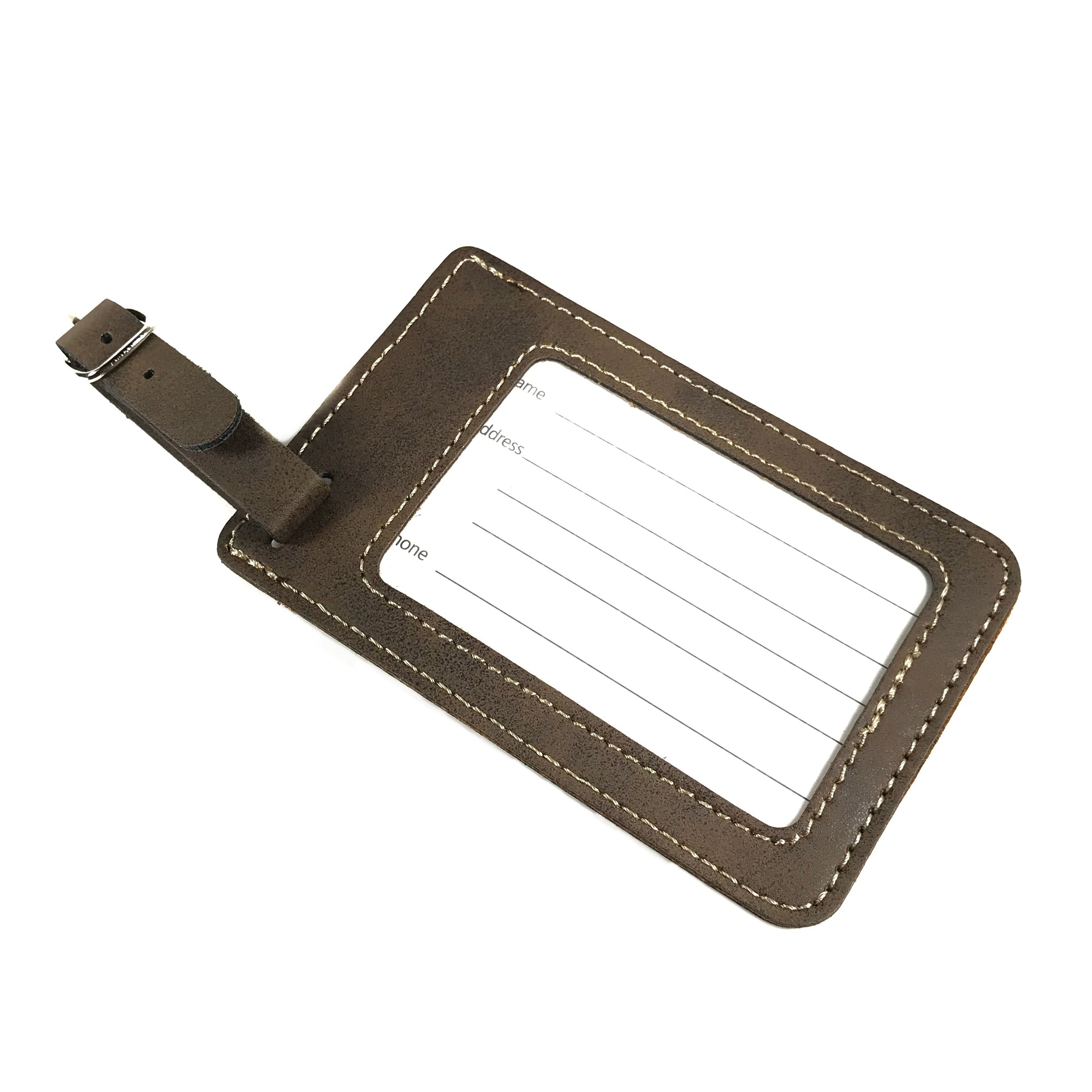 Rustic Brown Leatherette Luggage Tag