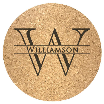 Round Cork Coaster with Monogram