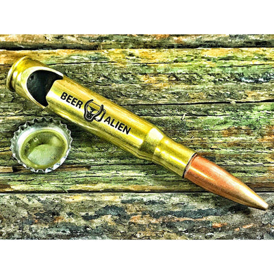 Brass Beer Alien .50 Caliber Bottle Opener