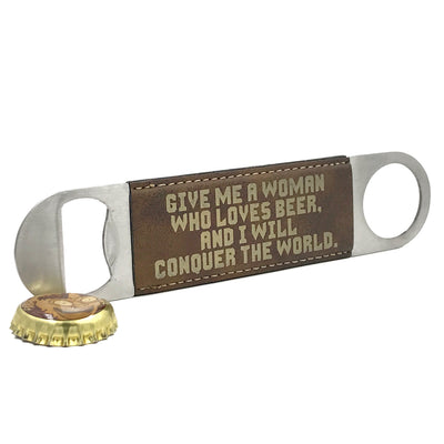 Beer Quotes Rustic Brown Paddle Bottle Opener