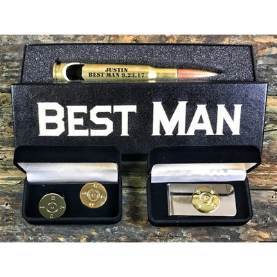 Brass Best Man Bundle with Cufflinks and Money Clip