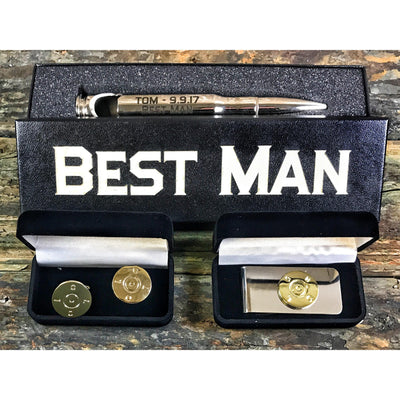 """Silver Bullet"" Best Man Bundle with Cufflinks and Money Clip"