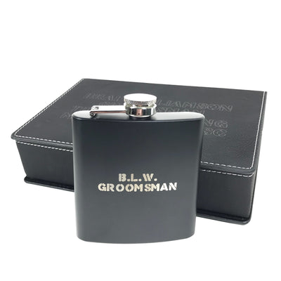 Custom matte black flask with gift box