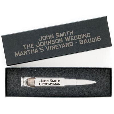 """Silver Bullet"" .50 Caliber Bottle Openers with Personalized Gift Boxes"