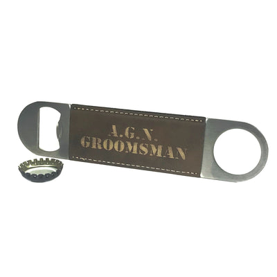Brown Bottle Opener with Custom Engraving