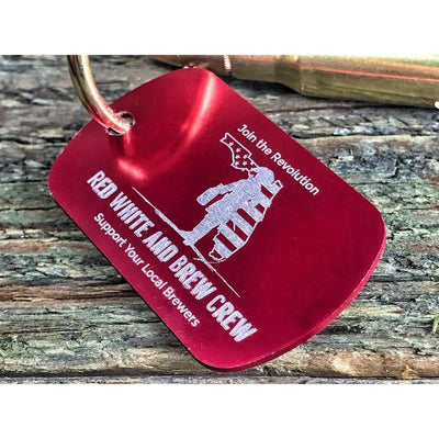 Red White and Brew Crew 7.62mm Keychain Bottle Opener