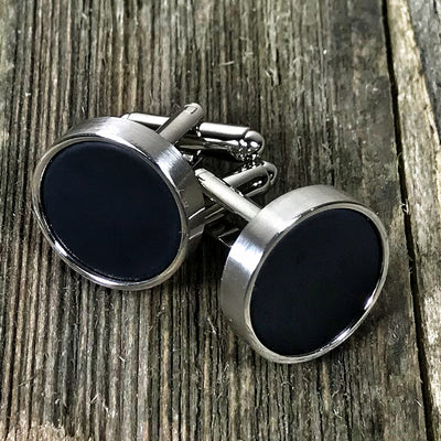 Round Black and Nickel Cufflinks