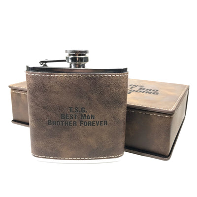 Brown leatherette flask with brown leatherette gift box