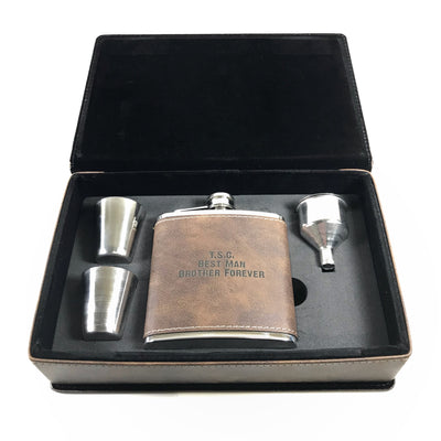 Brown leatherette flask, shot glasses, funnel, and brown leatherette gift box