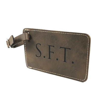 Custom brown leatherette luggage tag