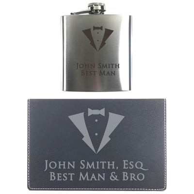 Steel Flask with 2 Shot Glasses in Black Leatherette Gift Box - Matching Artwork
