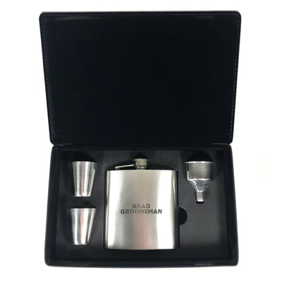 Steel Flask with 2 Shot Glasses in Black Leatherette Gift Box
