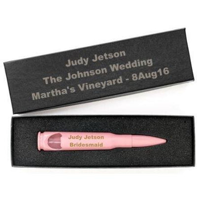 Bridesmaid Gifts -- Pink Engraved .50 Caliber Bottle Openers with Personalized Gift Boxes