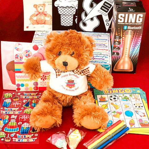 Birthday Bear Box featuring an adorable super soft stuffed bear.  The Birthday Bear Box is part of the preschool subscription box lineup of products from My Imagination Mail
