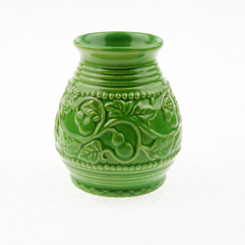 Ceramic Yerba-Mate Gourd With Emboss Calabash Pattern (Green) | Bombilla included