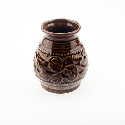 Ceramic Yerba-Mate Gourd With Emboss Calabash Pattern (Brown) | Bombilla included