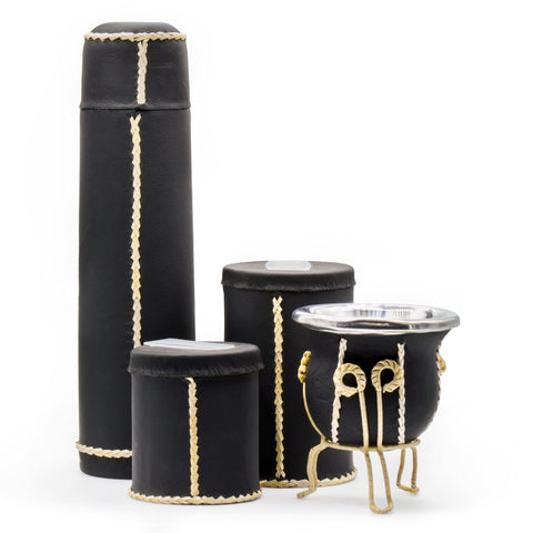 7pc Black Leather-Wrapped Yerba Mate Kit and Accessories | Free tray included
