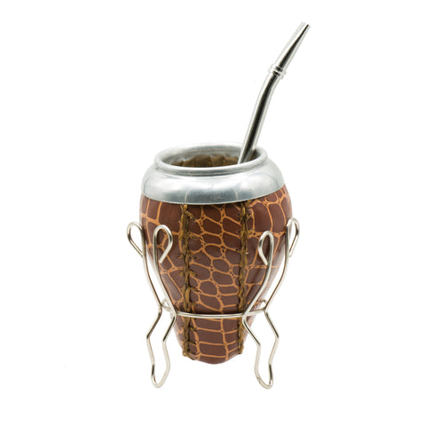 Handmade Mate Gourd Wrapped with synthetic ECO Leather and steel Bombilla. (Brown-snake)
