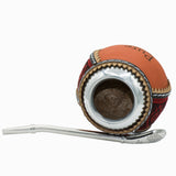 Handmade leather decorated natural calabash mate gourd with alpaca rim and bombilla straw