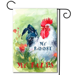 """My Roost My Rules"" Garden Flag"
