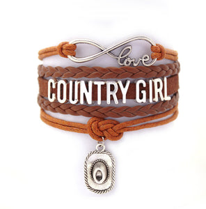 Brown Vintage Country Girl Cuff Bracelet