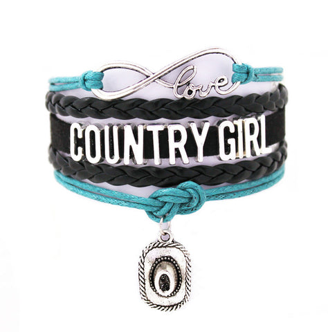 Teal and Black Country Girl Vintage Cuff Bracelet