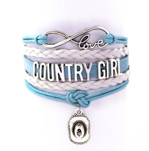 Teal and White Love Being a Country Girl Cuff Bracelet