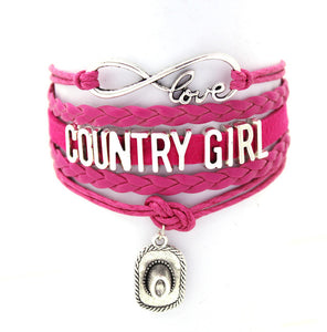 Pink Proud To Be A Country Girl Cuff Bracelet
