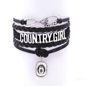 Black Infinity Love Country Girl Cuff Bracelet