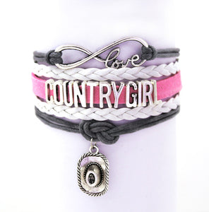Pink and Black Love My Country Girl Cuff Bracelet