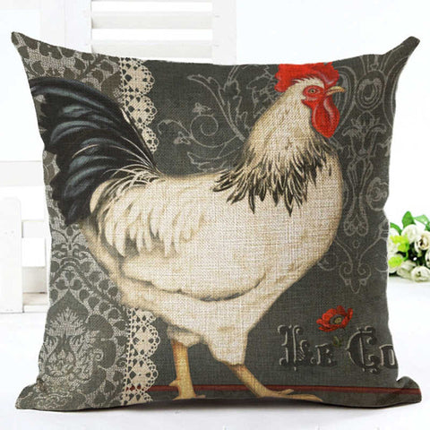 Black and White Rooster Pillow Cushion Cover