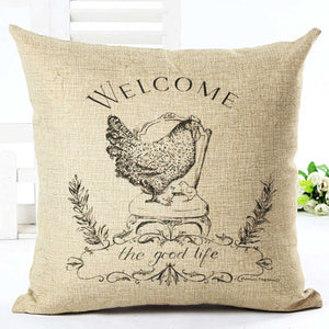 Welcome Chicken Pillow Cover