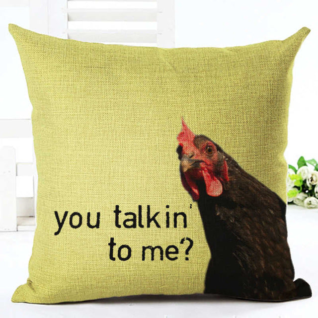 You talkin' to me? Chicken Pillow Cover