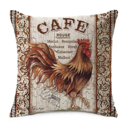 Red Cafe Rooster Chicken Pillow Cover