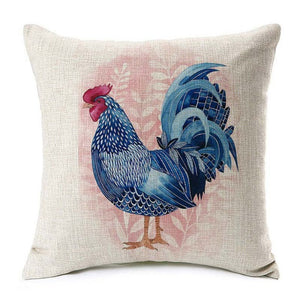 Blue Rooster Pillow Cover