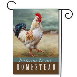 """Welcome to Our Homestead"" Garden Flag"