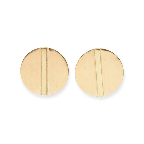 SMALL BRASS BAR IN CIRCLE POST EARRINGS 1""